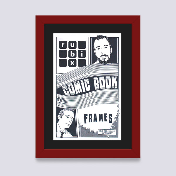 dark red comic book frame with black mount handmade in uk with wood mouldings