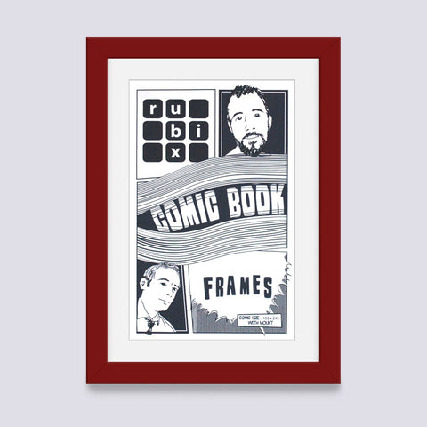 dark red comic book frame with white mount handmade in uk with wood mouldings