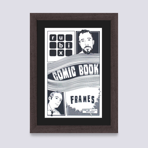 dark wood comic book frame with black mount handmade in the UK with wood mouldings