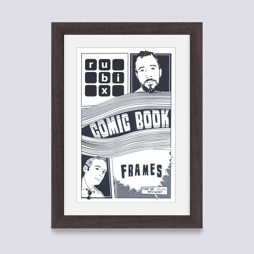 dark wood comic book frame with white mount handmade in the uk with wood mouldings