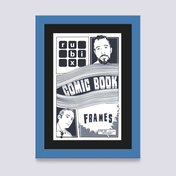 light blue comic book frame with black mount handmade in the UK with wood mouldings
