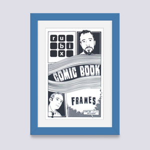 light blue comic book frame with white mount handmade in UK with wood mouldings