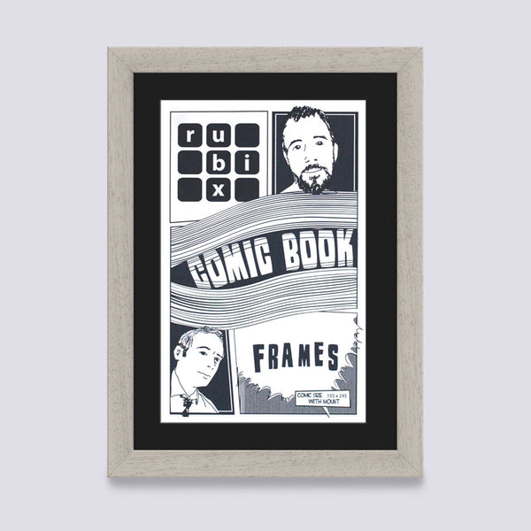 light grey comic book frame with black mount handmade in the UK with wood mouldings