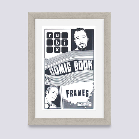 light grey comic book frame with white mount handmade in the UK with wood mouldings