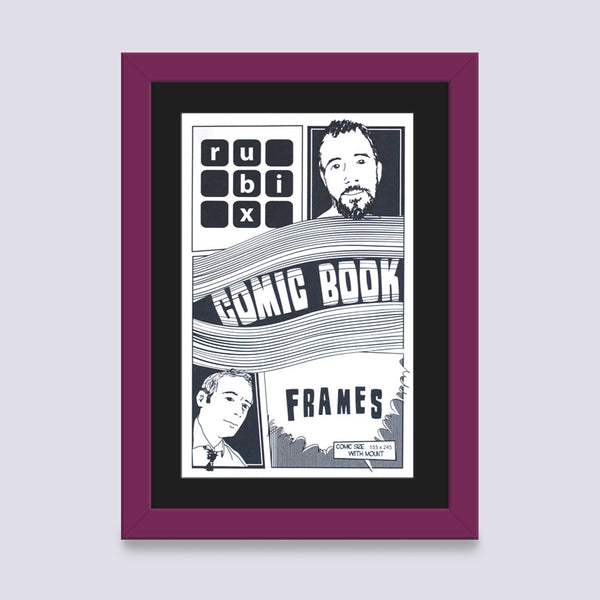 light purple comic book frame with black mount handmade in UK with wood mouldings