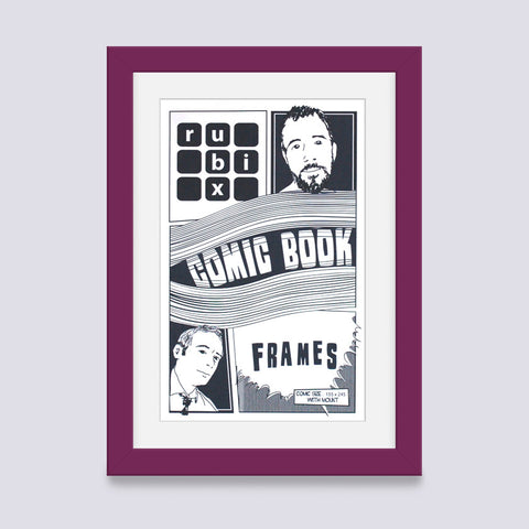 light purple comic book frame with white mount handmade in UK with wood mouldings