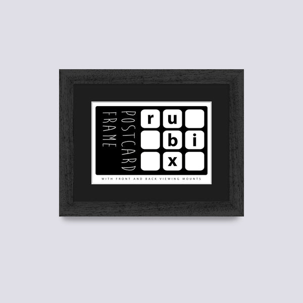 black postcard picture frame with black mount