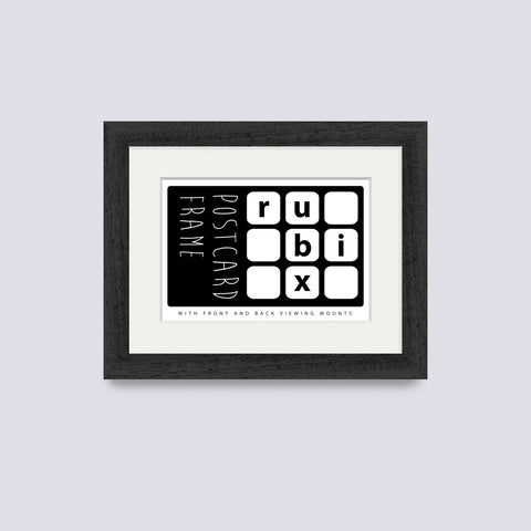 black postcard picture frame with white mount
