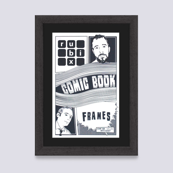 mat black comic book frame with black mount handmade in the UK with wood mouldings