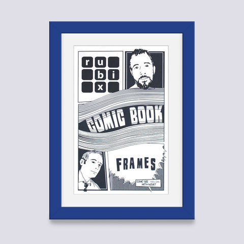 medium blue comic book frame with white mount handmade in the UK with wood mouldings