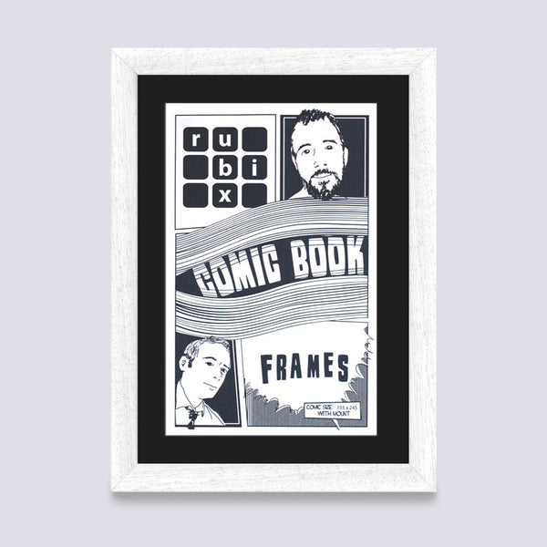 mat white comic book frame with black mount handmade in the UK with wood mouldings