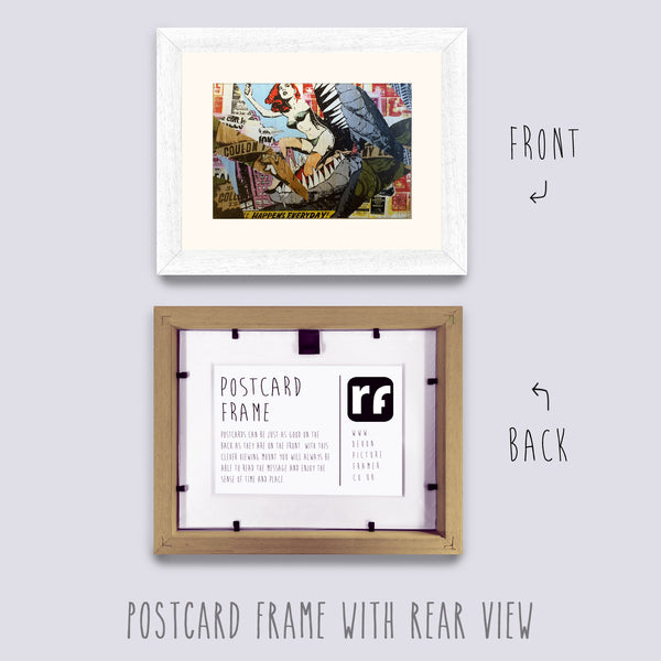 White (Wood Grain) Postcard Picture Frame