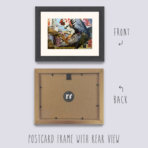 Grey - Dark (Wood Grain) Postcard Picture Frame