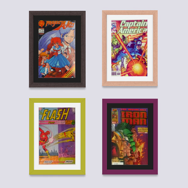 red comic book frame for marvel and dc comics