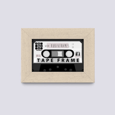 Cream Audio Cassette Frame Handmade from wood