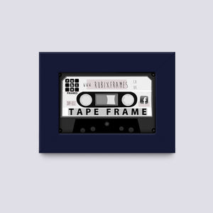 audio cassette tape wooden frame handmade dark blue