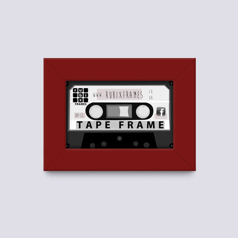 Dark Red Cassette Wooden Frame Handmade