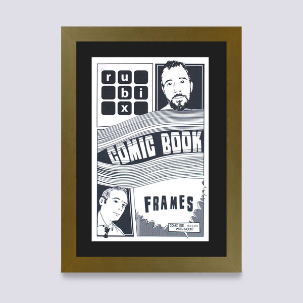 gold comic book frame with black mount handmade in UK with wood mouldings