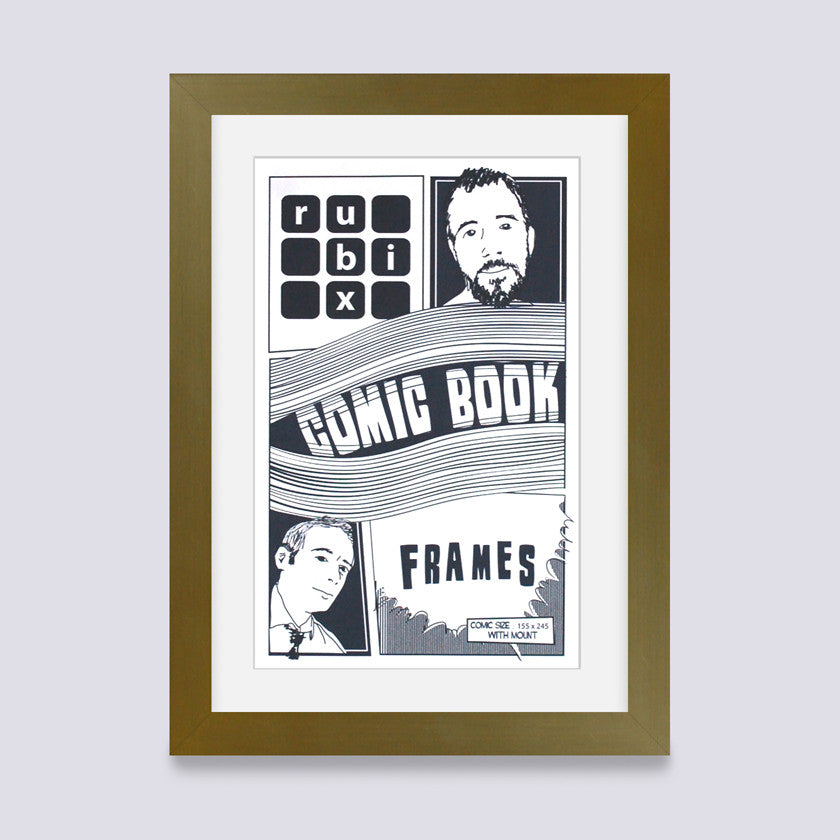 gold comic book frame with white mount handmade in the uk with wood mouldings