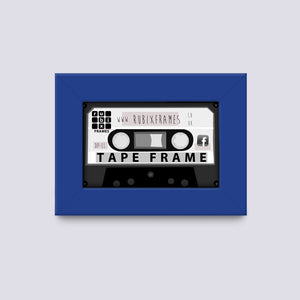 medium blue audio cassette case and tape frame