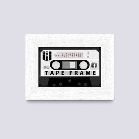mat white wooden cassette audio tape frame