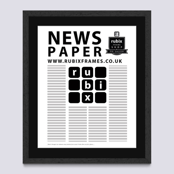 Black (Wood Grain) Newspaper Frame