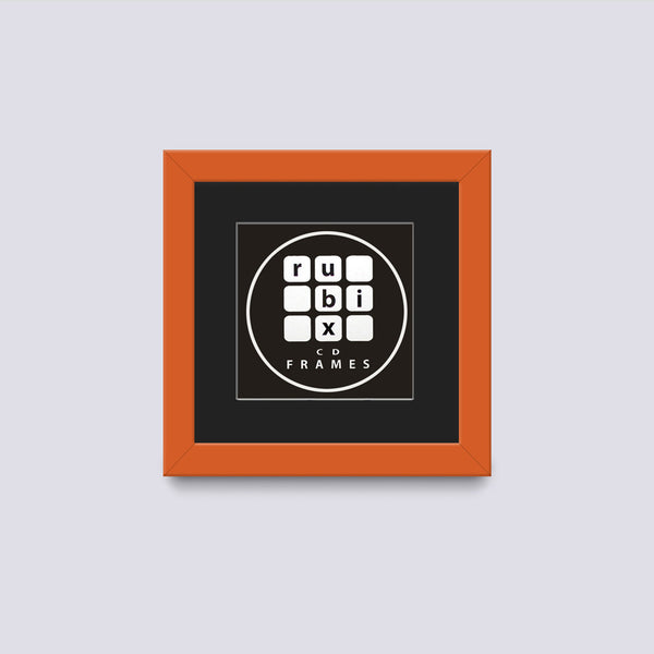 orange cd single picture frame with black mount