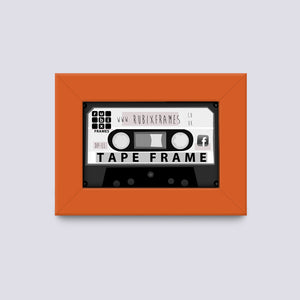 orange audio cassette frame made from wood mouldings