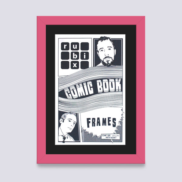 pink comic book frame with black mount handmade in UK with wood mouldings