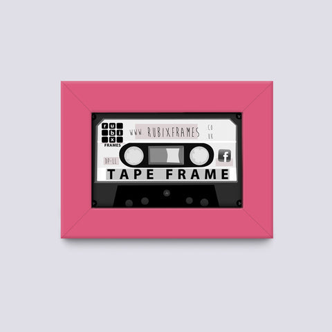 pink audio tape frame suitable for cassettes and cases