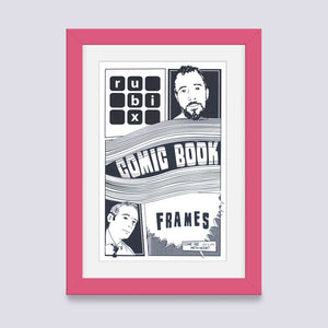 Pink comic book frame with white mount handmade in the UK with wood mouldings