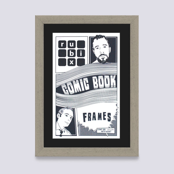 putty comic book frame with black mount handmade in the UK with wood mouldings