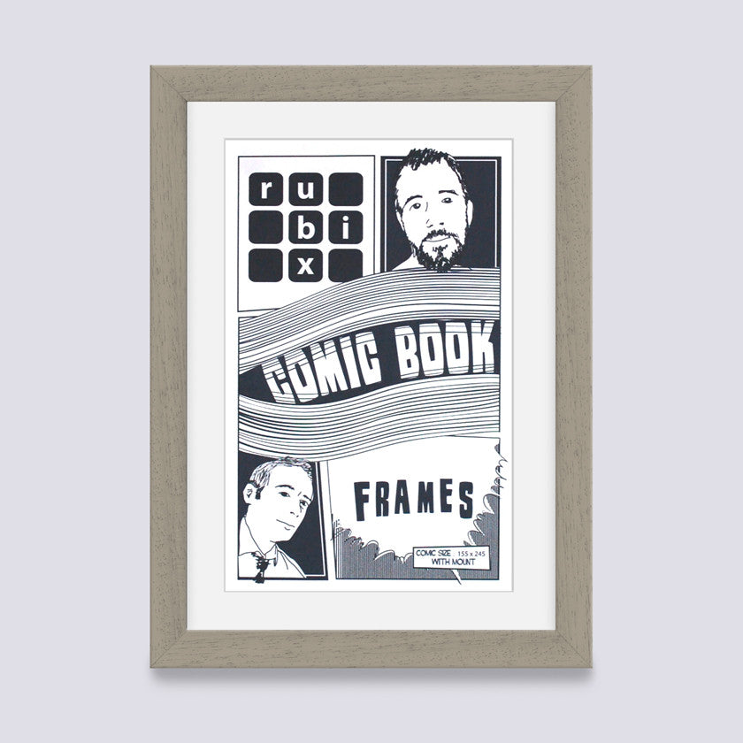 putty comic book frame with white mount handmade in uk with wood mouldings
