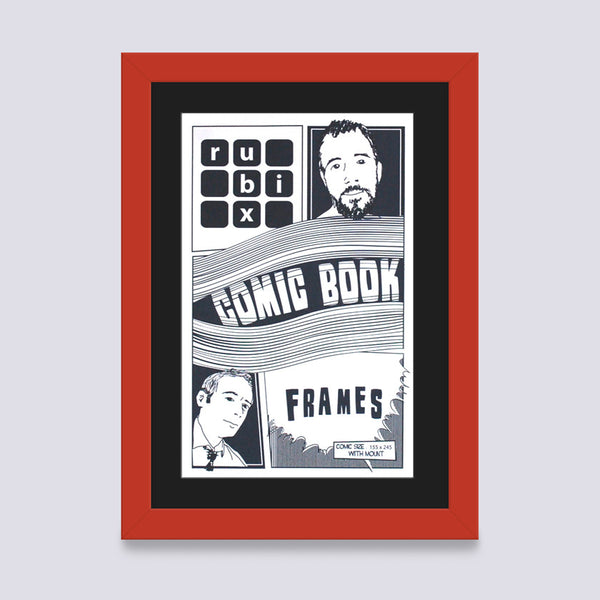 red comic book frame with black mount handmade in the UK wood mouldings