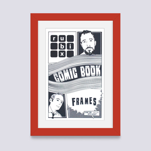 red comic book frame with white mount handmade in UK with wood mouldings