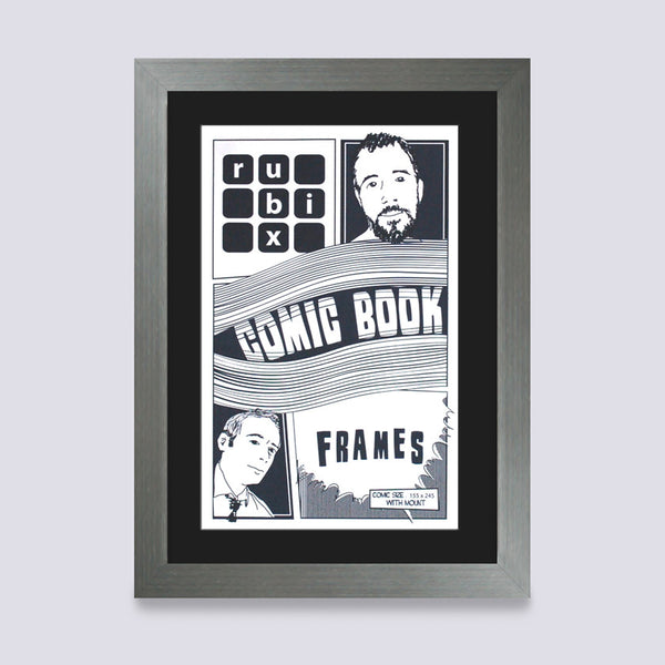 silver comic book frame with black mount handmade in UK with wood mouldings