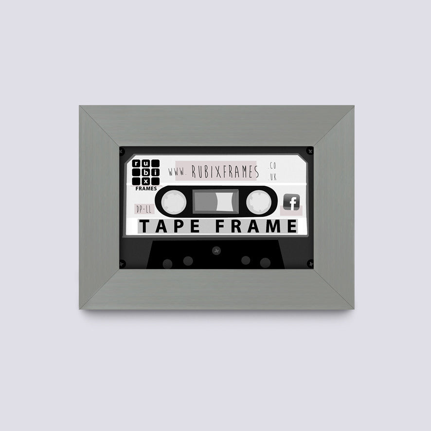 silver audio tape frame to fit cassette case or music tape