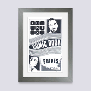 silver comic book frame with white mount handmade in UK with wood mouldings