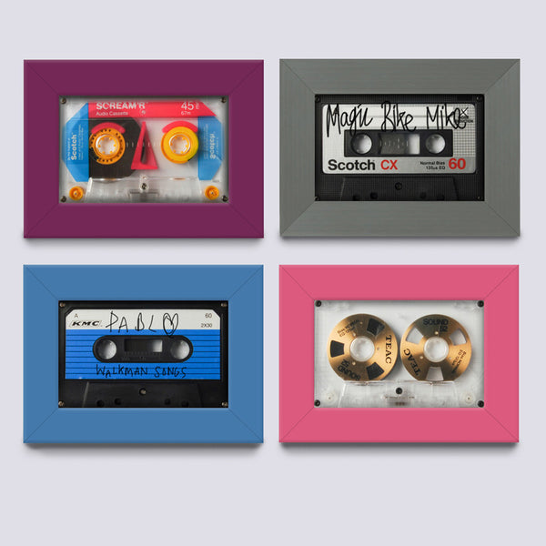 multi coloured frame for fitting audio cassette or case
