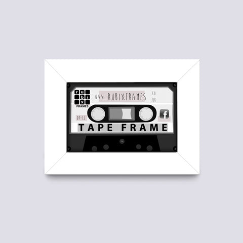 modern white audio cassette frame handmade from quality wood