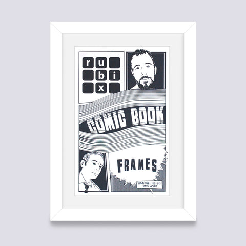 white comic book frame with white mount handmade in the UK with wood mouldings