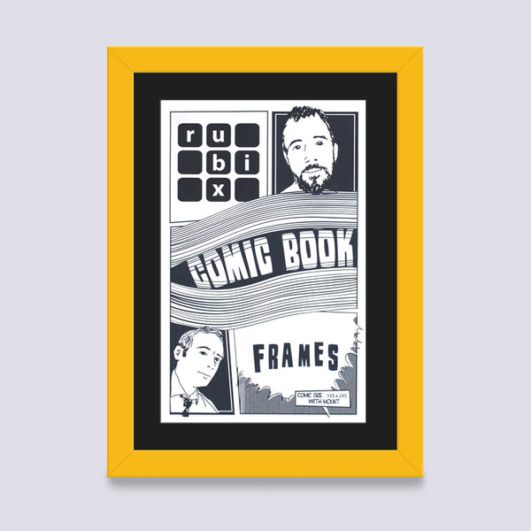 yellow comic book frame with black mount handmade in UK with wood mouldings