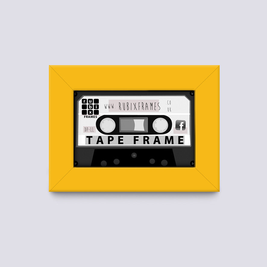 Yellow audio cassette tape frame handmade from quality wood mouldings
