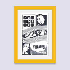 yellow comic book frame with white mount handmade in UK with wood mouldings