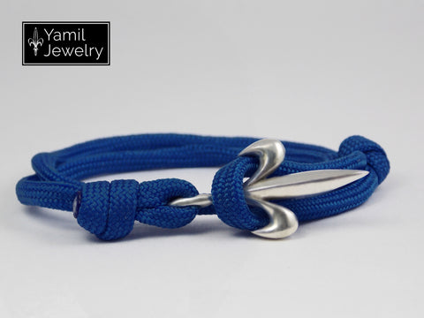 Silver Fleur De Lis Bracelet on Blue Nylon Rope - Yamil Jewelry - 1