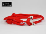 Silver Fleur De Lis Bracelet on Red Nylon Rope - Yamil Jewelry - 2