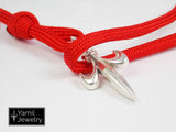 Silver Fleur De Lis Bracelet on Red Nylon Rope - Yamil Jewelry - 3