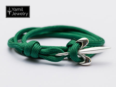 Silver Fleur De Lis Bracelet on Dark Green Nylon Rope - Yamil Jewelry - 1