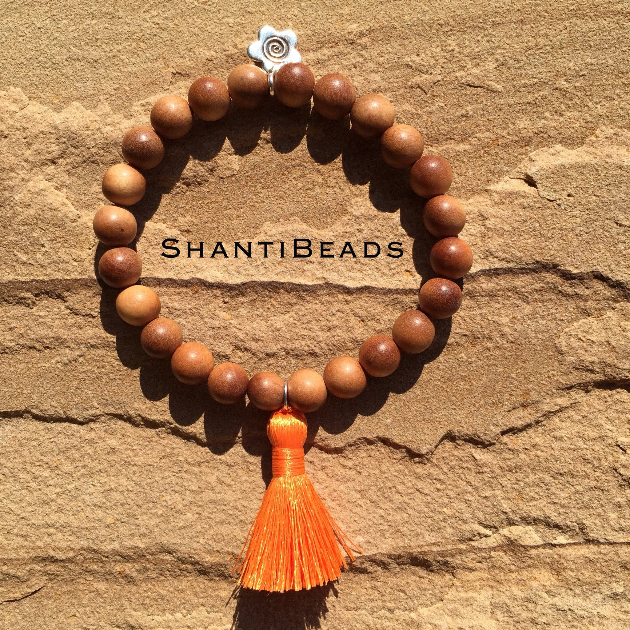 Fragrant Sandalwood Yoga Bracelet With Orange...