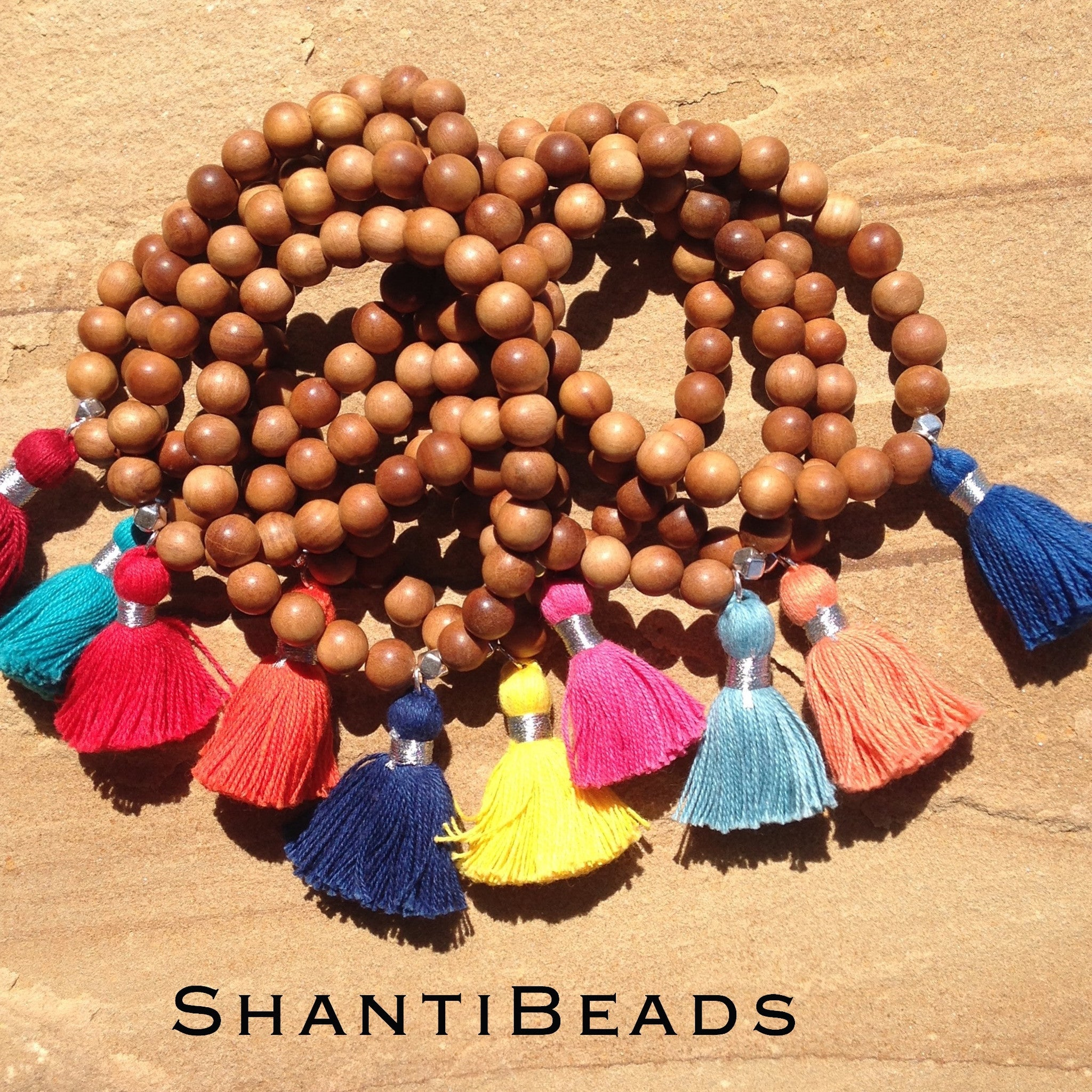 Fragrant Sandalwood Yoga Bracelet With Tassel...